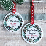 First Christmas Engaged Wreath Round Ceramic Tree Hanger Decoration Ornament