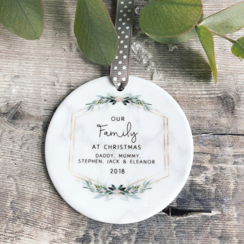 Personalised Our Family at Christmas Marble Style Quote Botanical Ceramic Round Decoration Ornament Keepsake