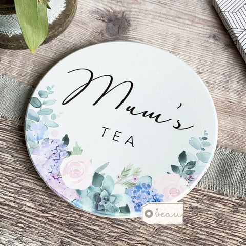 Personalised Name Lilac Floral Ceramic Round Coaster
