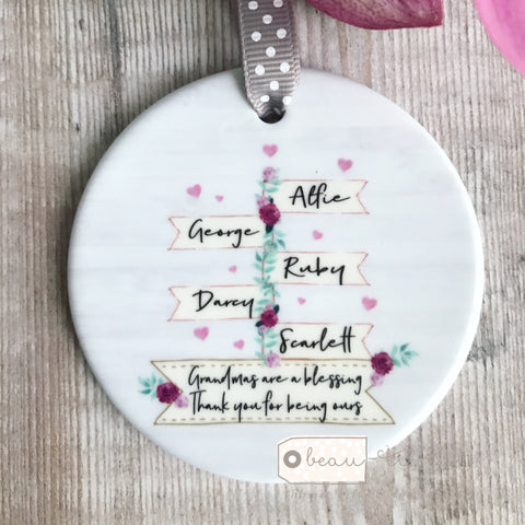 Personalised Blessing Female Mother's Day Family Floral Signpost Ceramic Round Decoration Ornament