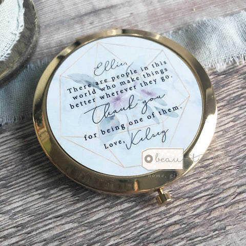 Personalised There are people in this world Thank you Friend Quote Floral Greenery Rose Gold Compact Mirror