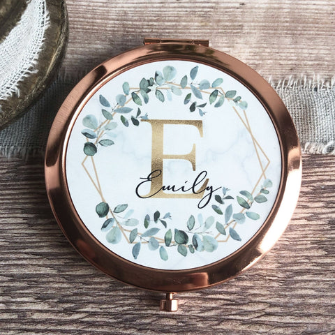 Personalised Initial and Name Geometric Greenery Rose Gold Compact Mirror.