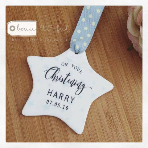 Personalised Baby Boy Christening Ceramic Star with Star Detail