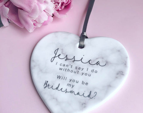 Personalised Will you be my Bridesmaid Marble Style Ceramic heart