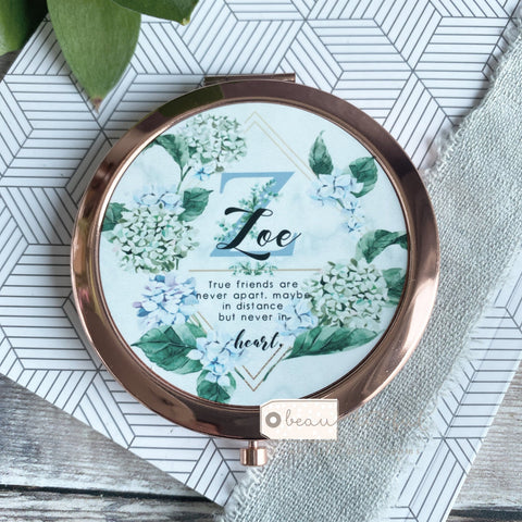 Personalised Initial and Name Never apart...Quote Blue Floral Greenery  Rose Gold Compact