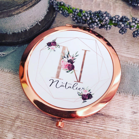 Personalised Initial and Name Burgundy Floral Geometric Design Round Rose Gold Compact Mirror