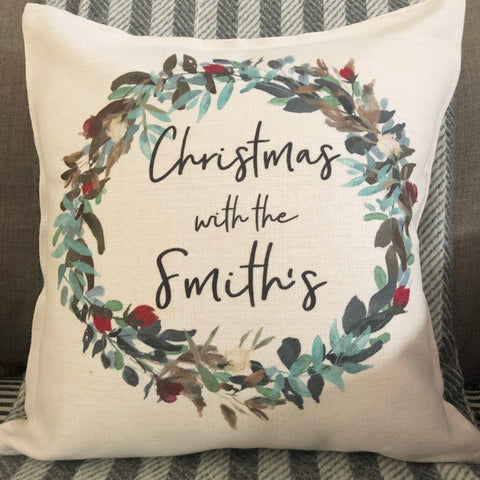 Personalised Christmas with the .... Wreath Linen Style Cushion