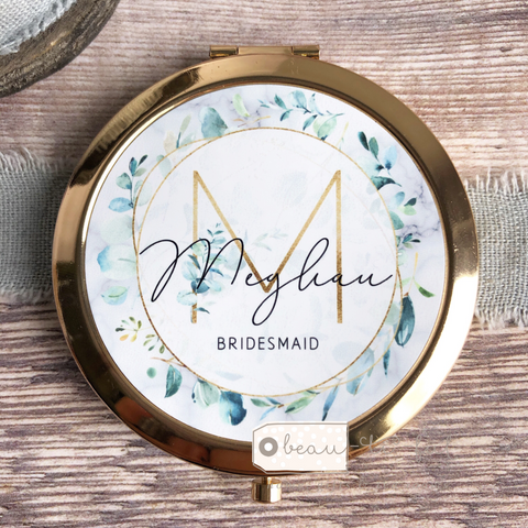 Personalised Initial and Name Eucalyptus Round Rose Gold Compact Mirror