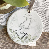 Personalised Happy Birthday Quote Greenery Marble Style Ceramic Ornament