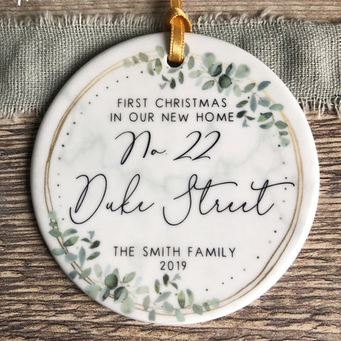 Personalised First Christmas In our new home Eucalyptus Marble style Ceramic Ornament Decoration