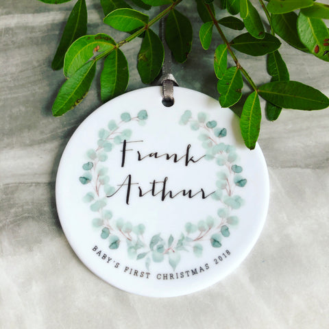 Personalised Baby's First Christmas Eucalyptus Detail Decoration ....Round Ceramic - Ornament