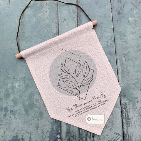 Personalised Family Like branches on a tree ... Botanical Design  Linen Hanging Pennant