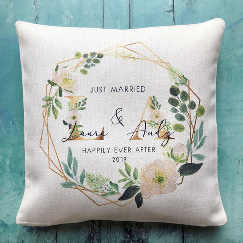 Personalised Just Married Initials Mr & Mrs Wedding Floral Geometric Linen Style Cushion