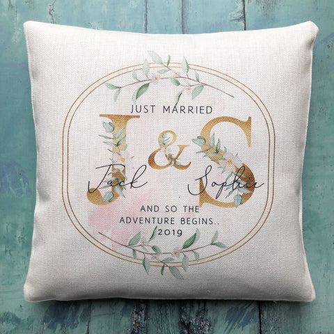 Personalised Just Married Initials Mr & Mrs Wedding Linen Style Cushion
