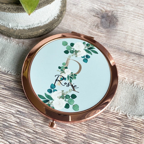 Personalised Initial and Name Floral Greenery Rose Gold Compact Mirror