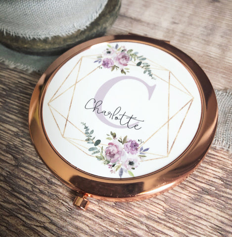 Personalised Initial and Name Lilac Floral Design Rose Gold Compact Mirror