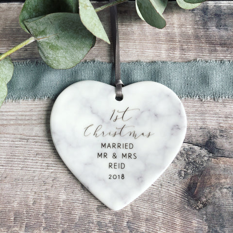 Personalised First Christmas Married Mr & Mrs Marble Style Ceramic Decoration Christmas Gift Heart Keepsake
