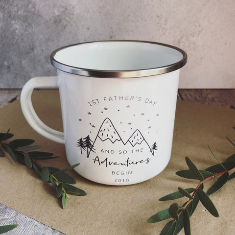 And so the Adventures Begin First 1st Father's Day Enamel Mug