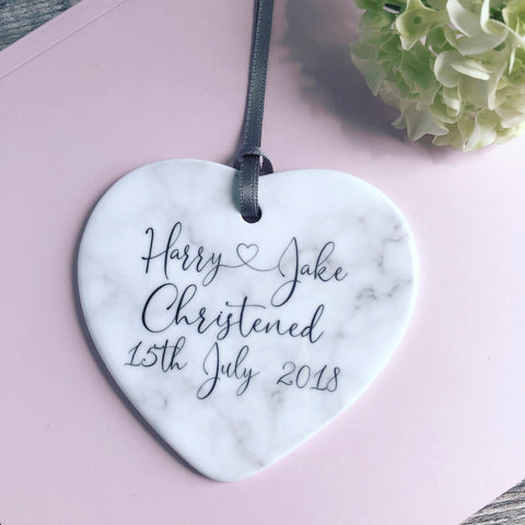 Personalised Baby Boy Girl Christening Baptism Pretty Marble Style Ceramic Heart Decoration Ornament Keepsake Godson Goddaughter