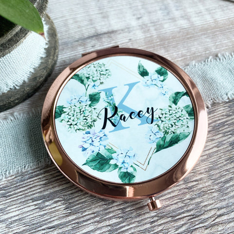 Personalised Initial and Name Blue Floral Greenery  Rose Gold Compact Mirror
