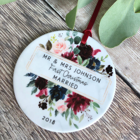 Personalised First Christmas Married Mr Mrs Burgundy Floral Ceramic Ornament ... - Keepsake Decoration