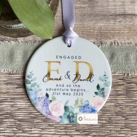 Personalised Engaged Names And so the adventure begins.. Quote Lilac Floral Greenery Keepsake
