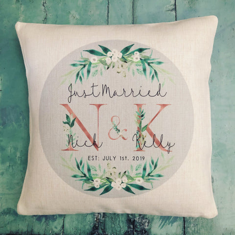 Personalised Just Married Initials Mr & Mrs Wedding .. Botanical Design Linen Style Cushion