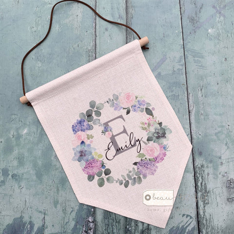 Personalised Name and Initial ... Floral Pink Lilac Design  Hanging Pennant