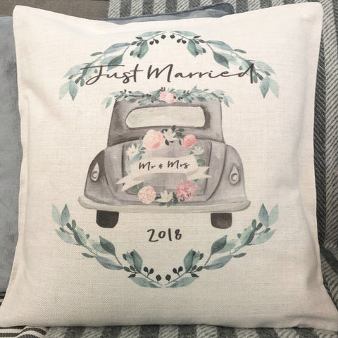Personalised Mr & Mrs Wedding Car... Botanical Linen Style Cushion - Wedding