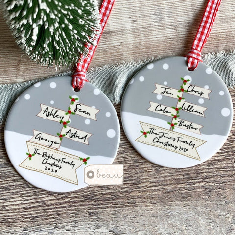Personalised Family Christmas Signpost Ceramic Round Christmas Decoration Ornament