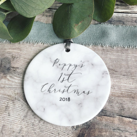 Personalised Baby's First Christmas Marble Style Ceramic Decoration Christmas Gift Keepsake Tree Ornament Bauble Decoration