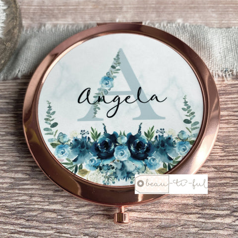 Personalised Initial and Name Dusky Blue Floral Greenery Rose Gold Compact Mirror