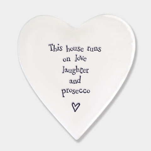 East of India This House runs on Porcelain Heart Coaster