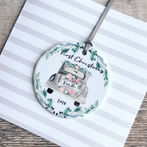 Personalised First Christmas as Mr & Mrs Wedding Car Ceramic Round Decoration Ornament Keepsake