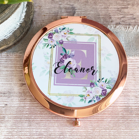 Personalised Initial and Name Lilac Floral Greenery Rose Gold Compact Mirror