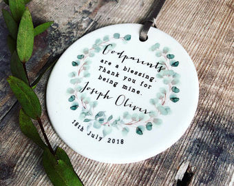 Personalised Thank you Godparents. Ceramic round decoration