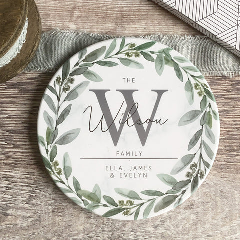 Personalised Name and Initial Family Greenery Wreath Marble Ceramic Coaster