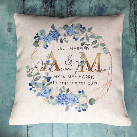 Personalised Just Married Initials Mr  Mrs Wedding Blue Floral Geometric Linen Style Cushion