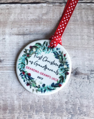 Personalised First Christmas as Grandparents Wreath Round Ceramic Tree Hanger Decoration Ornament