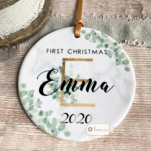 Personalised First Christmas Baby Girl Boy Initial Eucalyptus Greenery Marble Style Ceramic Keepsake