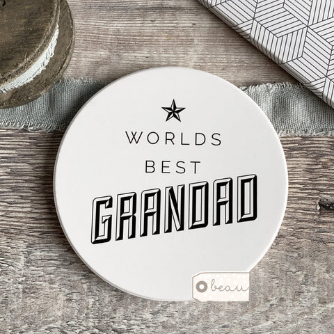 Worlds Best Dad Daddy Grandad Grandpa Ceramic Round Coaster