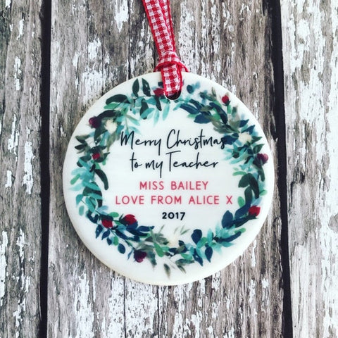 Personalised Merry Christmas to my Teacher Wreath Round Ceramic Tree Hanger Decoration Ornament