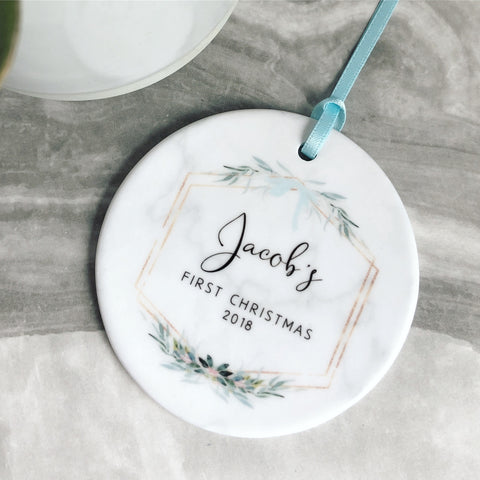 Personalised First Christmas Baby Boy Marble Style Quote Botanical Ceramic Round Decoration Ornament Keepsake