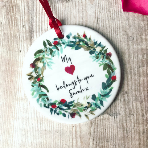 Personalised My Heart Belongs to you Valentines Wreath Round Ceramic Hanger