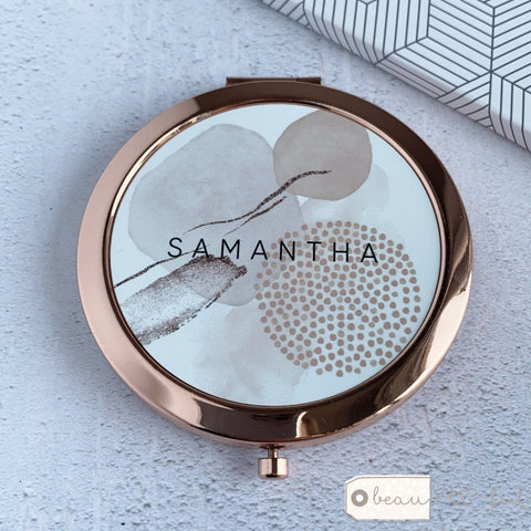 Personalised Name Abstract  Rose Gold Compact Mirror