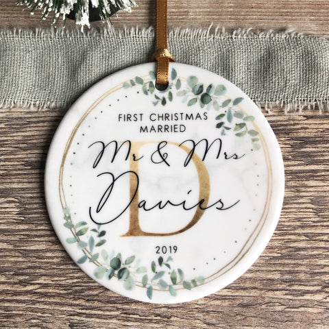 Personalised First Christmas Married As Mr Mrs Eucalyptus Marble style Ceramic Ornament Decoration