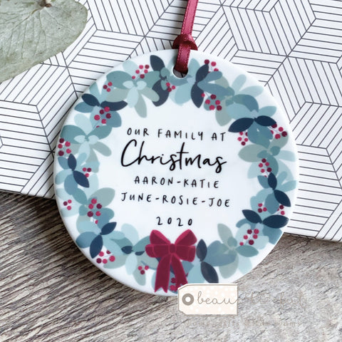 Personalised Family Christmas Tree wreath Design Decoration