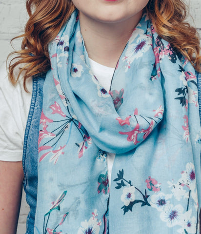 Spring Floral Design Scarf - Turquoise