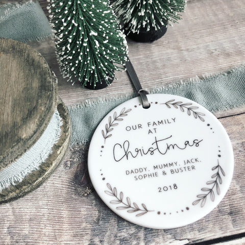Personalised Our family at Christmas Monochrome Wreath Ceramic Round Decoration Ornament Keepsake