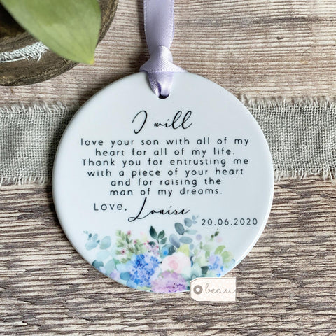 Personalised Mother of Groom Bride Thank you from Bride Groom Quote Lilac Floral Keepsake